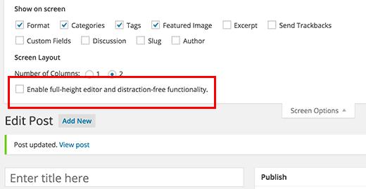 Menú de opciones de pantalla en la pantalla de edición de publicaciones en WordPress