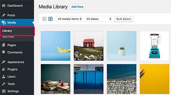 Seleccione una imagen para editar en la biblioteca de medios de WordPress