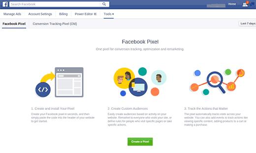Creación de píxeles de Facebook