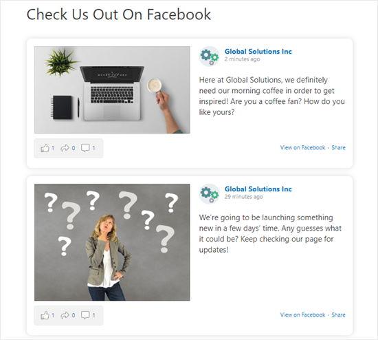 La línea de tiempo de nuestra página de Facebook se muestra en nuestra página de WordPress