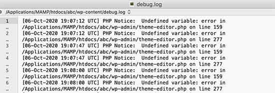 Archivo de registro de depuración que muestra errores de PHP en WordPress